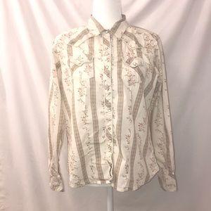 Wrangler western cowgirl shirt pearl button cowboy